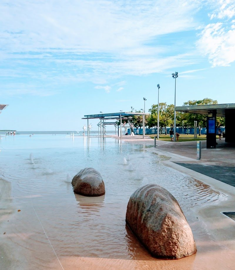 Boulders and splash fountain Cairns Esplanade Lagoon